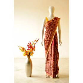 Kantha Hand Work Saree with Yellow Block Designs